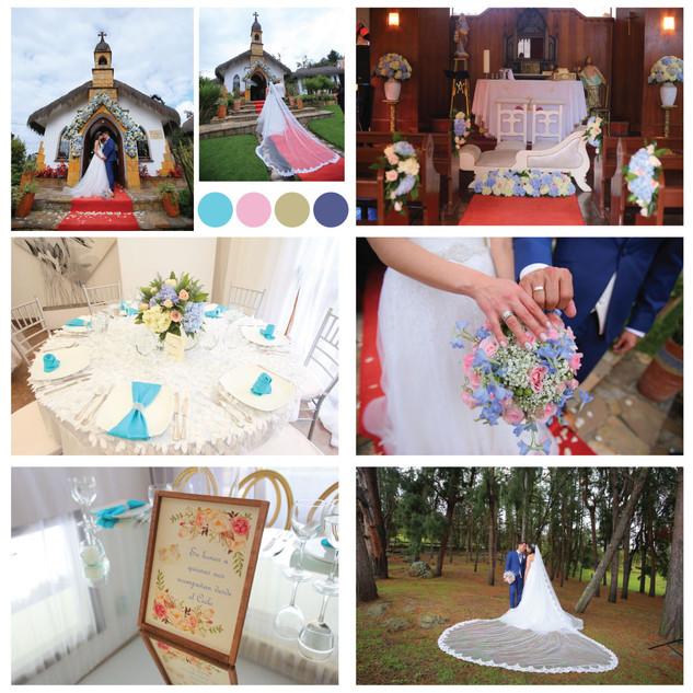 Gama de color boda azules, morados y rosados