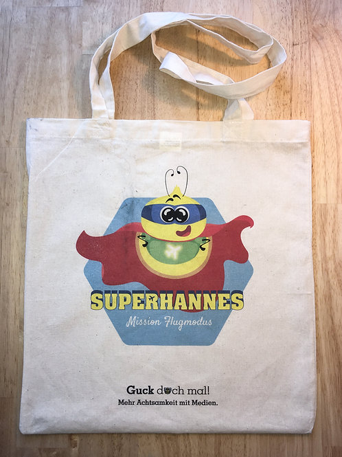 Superhannes Stoffbeutel (Mission Flugmodus)