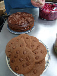 The chocolate cake and cookies