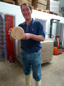 Stu Dec 2011 holding one of our Natural Rinded Matured Cow Cheese