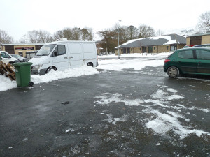 First job of the day is to clear away the snow so that our customers can pick up and we can receive deliveries of milk