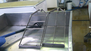 Our stainless steel curd cutters, one vertical set and one horizontal