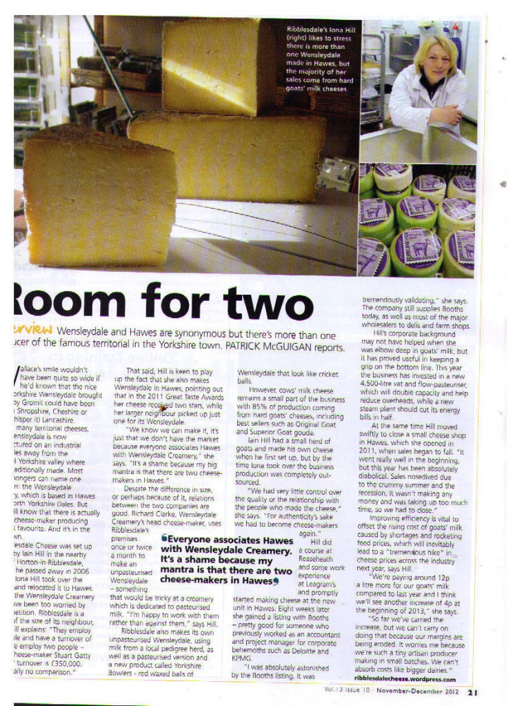 Article About Us in the Fine Food Digest Nov-Dec 2012