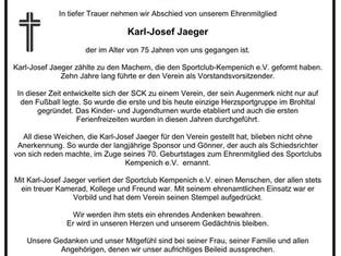 Sportclub trauert um Ehrenmitglied.