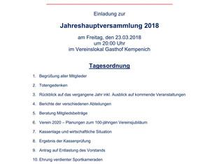 Jahreshauptversammlung und Jugendversammlung am 23.03.2018