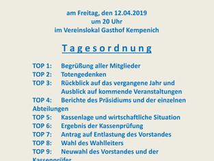 Sportclub - Kempenich e.V. Jahreshauptversammlung am 12.04.2019