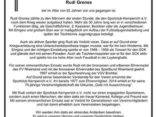Sportclub Kempenich trauert um sein Ehrenmitglied.