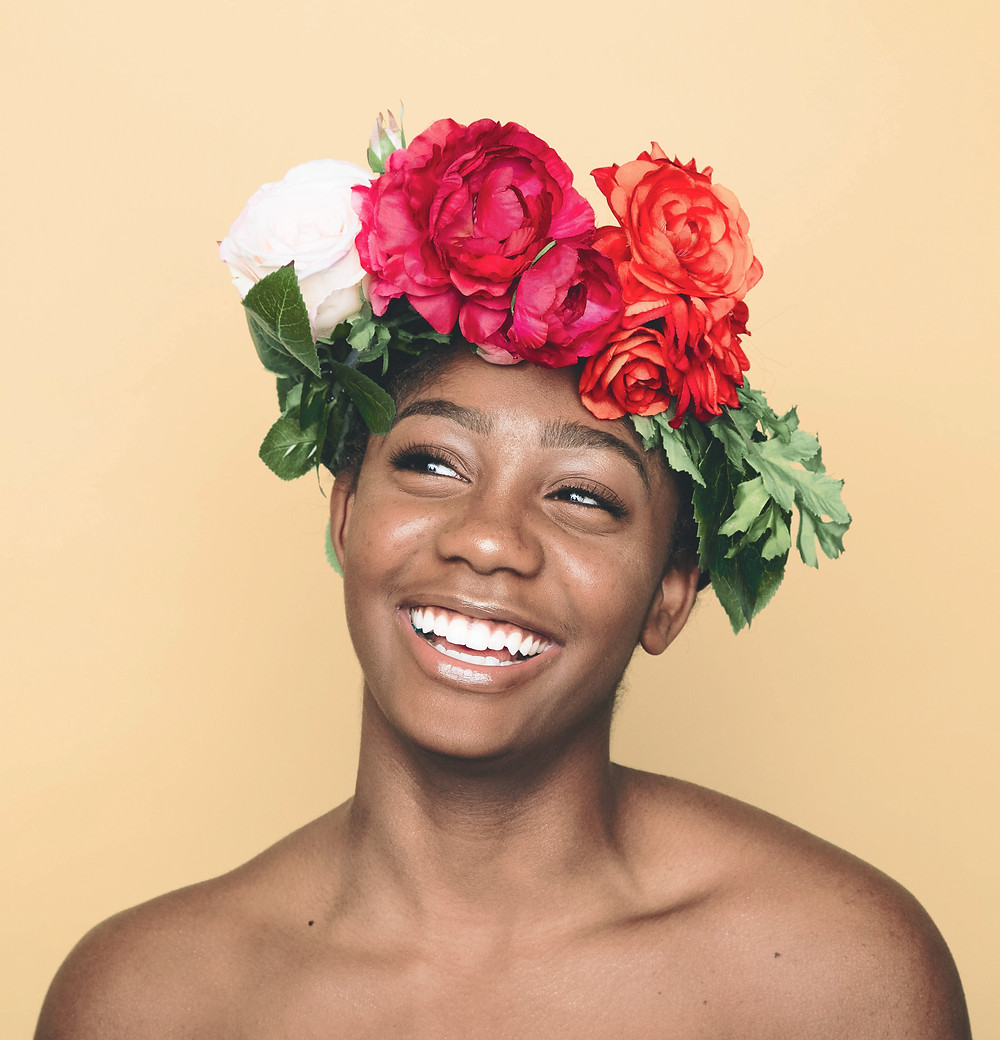 happy person with flower crown