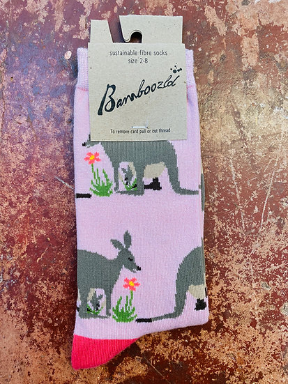 Bamboozld Ladies Sock - Kangaroo / Joey Size 2-8