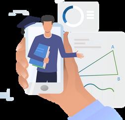 online tutor holding phone