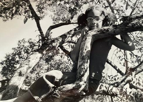 Lisa Buss Evans in tree