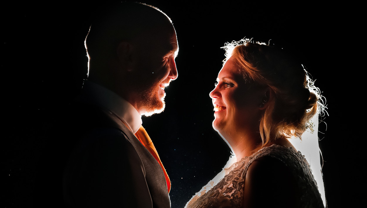 Night time photo of Bride and Groom in Kent UK