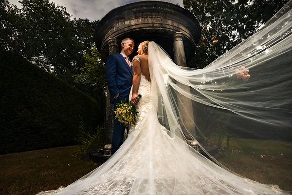 Allington Castle gardens Bride and Groom