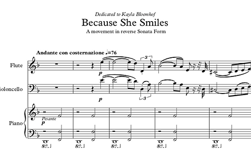 Because She Smiles (Trio for Flute, Cello and Piano), First Version