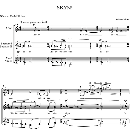 SKYN! for three soloists (ssa) and SSAA