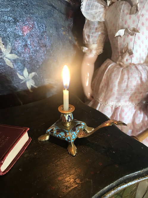 Footed Enameled Candlestick