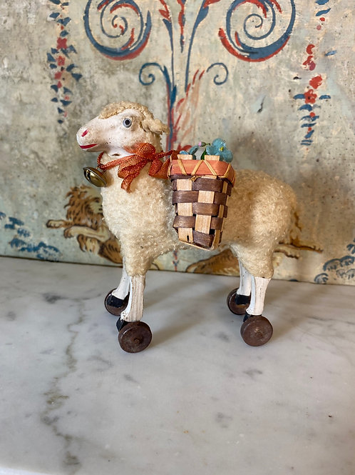 Charming Antique Lamb on Wheels