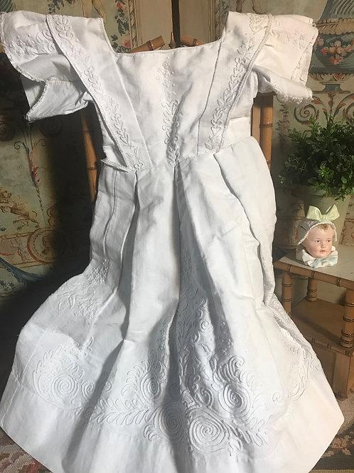 """27"""" Long White Pique Soutache Dress"""