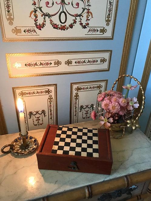 Miniature Game Box- Backgammon & Checkers