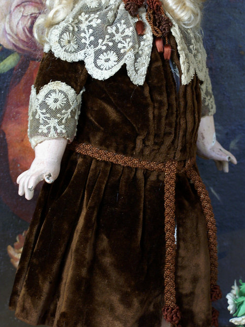 Antique Chestnut Silk Velvet Dress and Signed Matching Hat