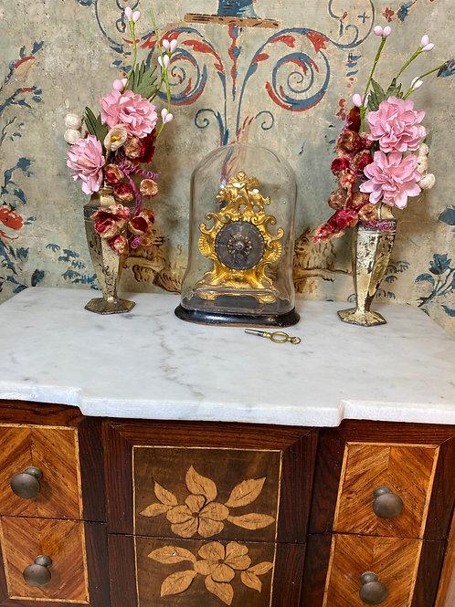 Gilded Bronze Miniature Clock w/ Key