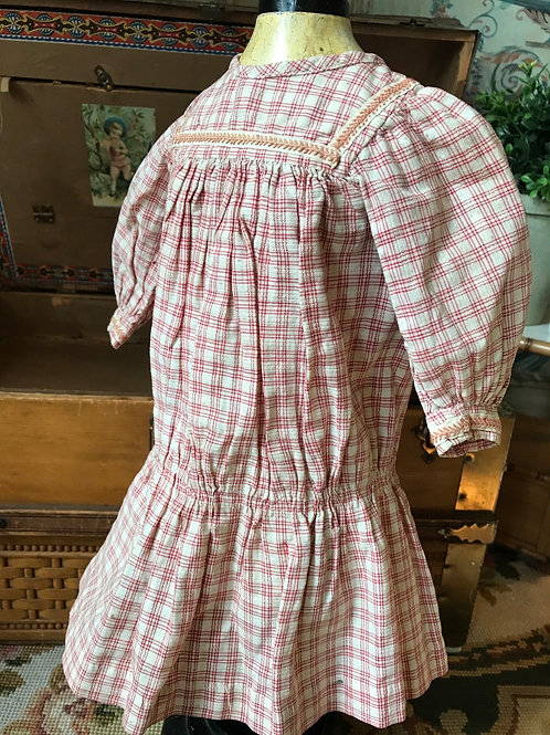 "Early Cotton Plaid Dress for 20-22"" Doll"
