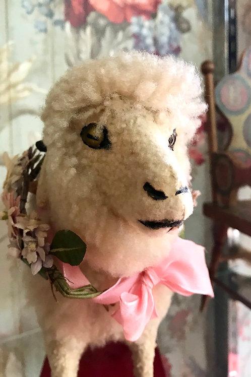 Antique Lamb on Wheels w/ Squeaker
