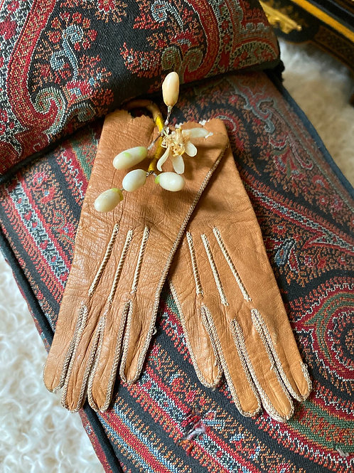 Rich Coppery-Bronze Toned Leather Gloves