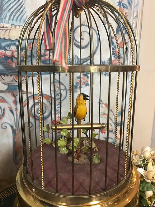 Sensational Mechanical Singing Bird in Gilded Cage