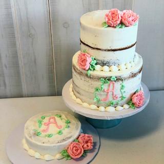 Naked Cake pink flowers girl birthday.jp