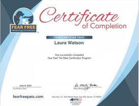 Fear Free Pet Sitter Certification Certificate