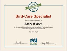 Bird-Care Specialist Certificate