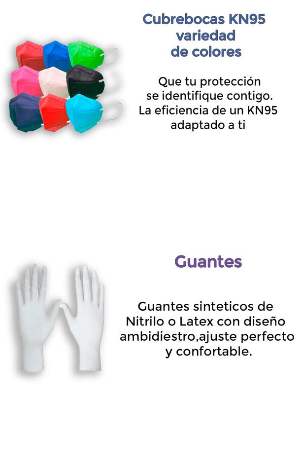Cubre bocas KN95 y guantes