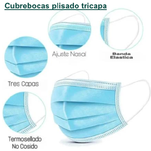 Cubrebocas plisado tricapa