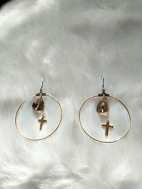 Earrings耳環 /-Smoky Quartz茶晶(10mm) /-Gold-plated 鍍金