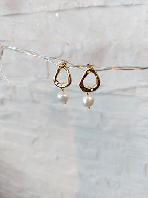 耳環Earrings/巴洛克珍珠Pearl(10mm)/施華洛世奇水晶Swarovski(4mm)/鍍金Gold-plated