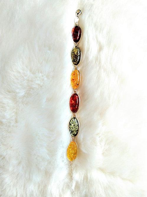 Bracelet 手鍊 /Amber 虎珀(10mm*20mm)/Silver純銀/ length: 21cm