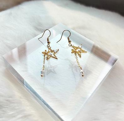 耳環、施華洛水晶(4MM)、鋯石、鍍K金