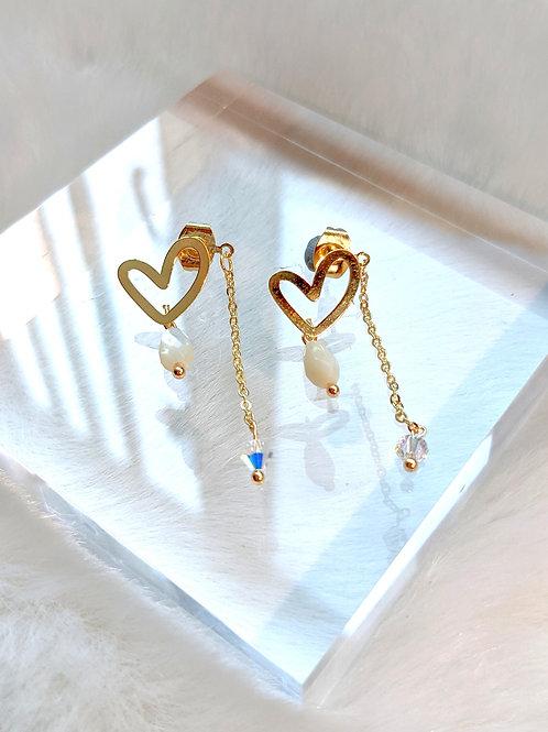 耳環、Swarovski水晶(4mm)、貝殼珍珠(8mm*3mm)、鍍k金