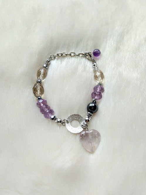 Bracelet手鍊 -smoky quartz茶晶(7mm*10mm) -Amethyst 紫晶(4mm*8mm) -Iron stone 鐵石(8mm) -