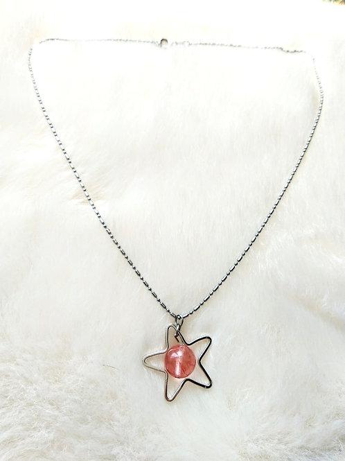 Necklace頸鍊 /-Strawberry Quartz士多啤梨晶(10mm)/Gold-plated 鍍金 length: 43.5cm/