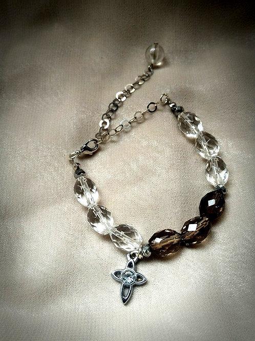 Bracelet手鍊/ Smoky Quartz茶晶(7mm*10mm) /Crystal水晶(7mm*10mm)/Gold-plated鍍金