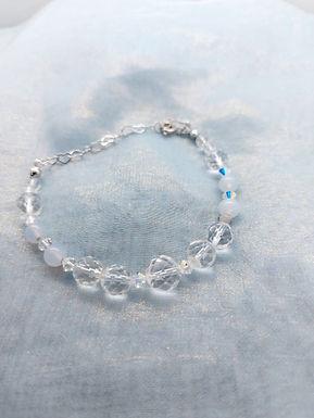 手鏈Bracelet/藍瑪瑙Blue Agate(5mm)/白水晶Crystal(6-10mm)/施華洛世奇水晶Swarovski(/鍍金Gold-plated