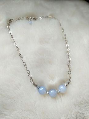 Necklace頸鍊/ -Blue Agate藍瑪瑙(8mm)/ -Silver 純銀 /Length:39cm