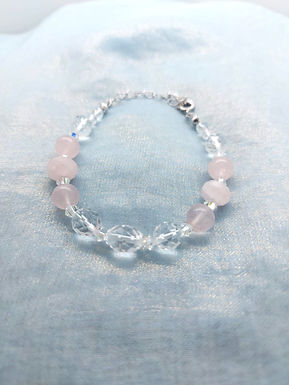 手鏈Bracelet/粉晶Rose Quartz(8mm)/白水晶Crystal(8mm)(5mm/施華洛世奇水晶Swarovski/鍍金Gold-plated