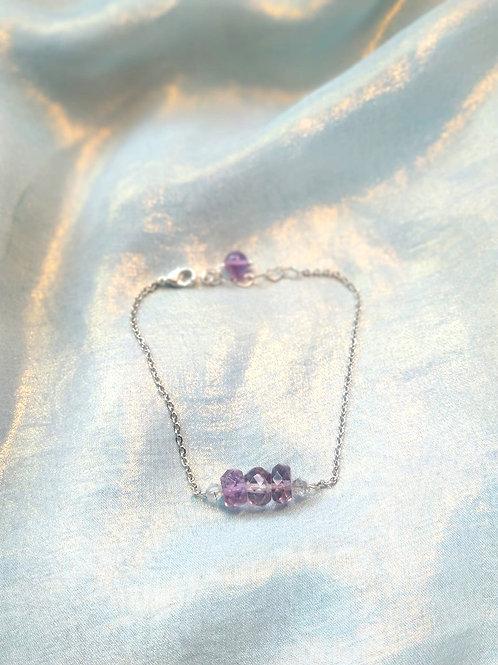 Bracelet手鍊/Amethyst紫晶(2mm*5mm)/gold-plated鍍金