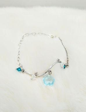 手鏈Bracelet/施華洛世奇水晶Swarovski(4mm)/藍玻璃 glass(10mm)/鍍金Gold-plated