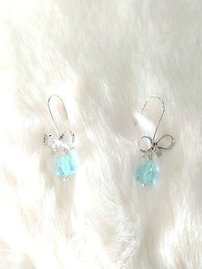 Earrings 耳環/gold-plated包金/  Glass藍玻璃(10mm)