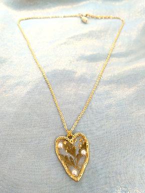 頸鏈Necklace/樹脂Resin(20mm*28mm)/貝殼珍珠Mother of Pearl(5mm*3mm)/鍍金Gold-plated