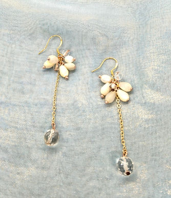 耳環 Earrings/貝殼珍珠Mother of Pearl/白水晶Crystal(8mm)/淡水珍珠Pearl/鍍金Gold-plated